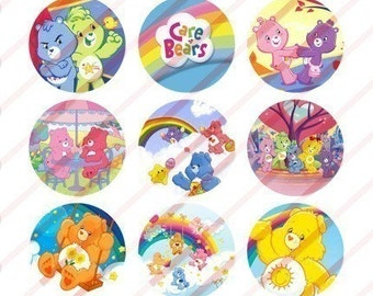 Care Bears Bottle Cap Images -- Digital Collage Sheet of 1 Inch Round Circles (4x6 Sheet) 017