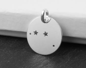 Sterling Silver Aries Constellation Pendant 18mm