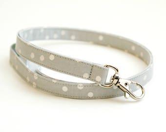 Gray and Metallic Silver Dots Skinny Lanyard - Thin Lanyard - 1/2 Inch Key Lanyard - Cute Long Key Strap - Teacher - 15.5-19.5 Inches