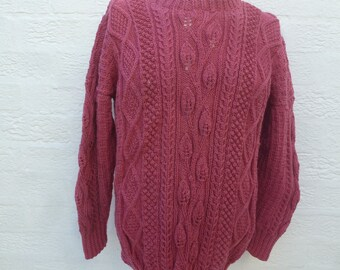 Vintage jumper knit sweater pink clothing aran cable pullover wool winter top handmade fashion 1980s hand knit granny jumper chunky handmade