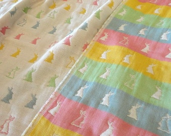 Easter bunny baby girl blanket, pastel bedding blanket, pink rabbit blanket, baby girl gift