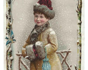 Antique Trade Card-GIRL WINTER SCENE-1880-