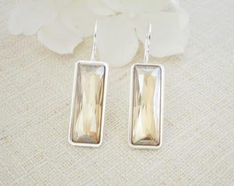 Champagne wedding earring, Modern baguette crystal earring, Swarovski crystal bridal earring, Bridesmaid earring, Gift for her