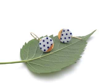 Blue and white Porcelain earring, ceramic jewelry, Polkadot, 18k gold earrings, minimalist earrings, geometric earrings, gift for mother
