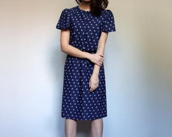 Navy Blue Dress Short Sleeve Summer Dress Vintage Bow Print Dress Novelty Print Dress Sundress Navy Dress - Small to Medium S M