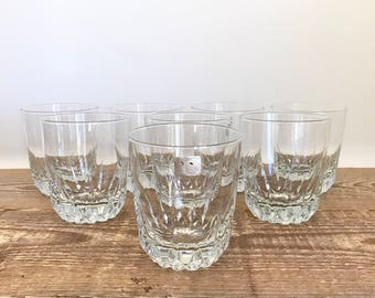 Set of 8 Cut Glass Whiskey Rocks Double Old Fashioned Glasses