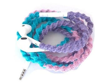 iPhone Gifts Wrapped Earbuds for iPhone, Handmade iPhone Earbuds, Design Earbuds, Custom Earbuds, iPhone EarPods, Tangle Free Earbuds