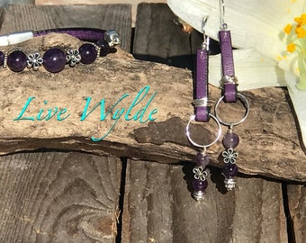 Rich Amethyst and Leather Bracelet!