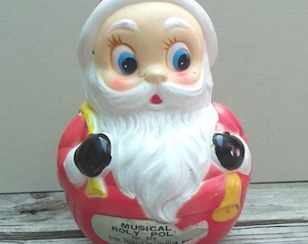 "ROLY-POLY SANTA Claus, Musical, Kiddie Products #670, ""Sani Babe"", Vintage Christmas Toy, Collectible"