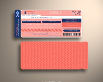 THERESA (Navy and Coral) Boarding Pass Invitation Invitation, Airline Ticket Holder Custom Destination Wedding Invite Suite, Travel Inspired