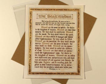 The Beatitudes - Hand Lettered Calligraphy Print - Wall Art - Scripture - Christian décor