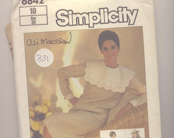 VINTAGE PATTERN - Simplicity 6842 (1985) Ali MacGraw -  Misses' Two-Piece Dress  with Sailor Collar - Size 10 (Euro 38) - UNCUT
