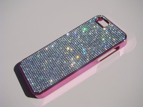 iPhone 5 / 5s / 5se Clear Diamond Crystals on Pink Electro Plated  Case. Velvet/Silk Pouch Bag Included, Genuine Rangsee Crystal Cases.