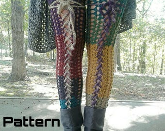 CROCHET PATTERN / Thigh High Footless Stockings / Lace up Leg Warmers / PDF Download *Not an actual item*