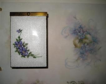 Cigarette Case Guilloche Enamel Floral Vintage