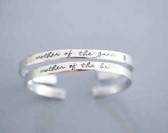Mother of the Bride Mother of the Groom Cuff Bracelet Set - Handstamped Bridal Jewelry - Skinny 1/5 inch