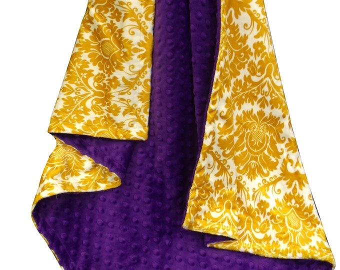 Purple Gold Fleur de Lis Minky Dot Baby Blanket
