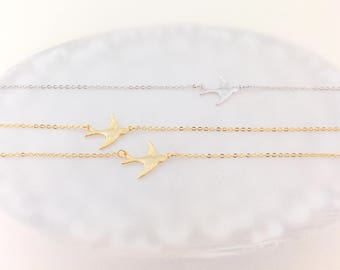 Bird Necklace / Delicate Soar Bird in Gold or Silver / Graceful Matte Finish Bird / Great Gift Idea for Bridesmaid, Friendship and Love All