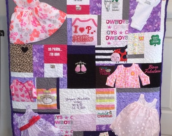 Baby clothes quilt  (made to order)(this is a deposit see description)