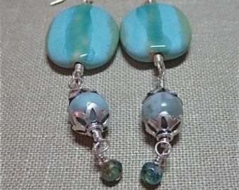 Blues and Green Striped Kazuri Bead Dangle Earrings - E365