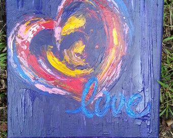 Painted textured canvas heart worded LOVE