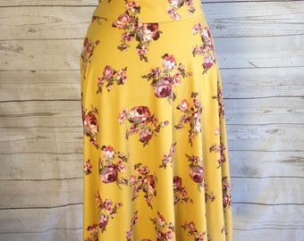 Mustard Yellow with Pink Floral Full Cut Midi Skirt