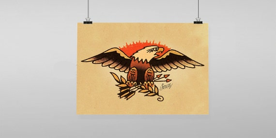 Eagle Tattoo Sailor Jerry Vintage Reproduction Wall Art