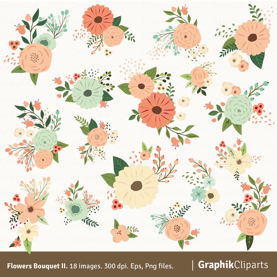 Floral Bouquet II Clipart. FLOWERS CLIPART. Flower