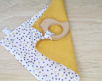 Dental flare - Navy - white - mustard - teething toy baby - teething ring wood - oeko tex