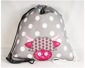 Cow child backpack, Cow Backpack, Cow fabric backpack, Dots child backpack, Dots Backpack, Dots fabric backpack, Scottish cow, Highland