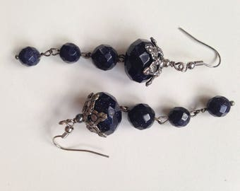 Goldstone and Silver Earrings
