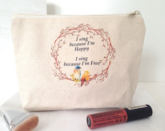 Fair Trade Pouch, Organic Cotton Makeup Bag, Large Makeup Bag, Boho Makeup Bag, Makeup Bag, Bird Makeup Bag, Sing Happy Bag, Bridesmaid Bag