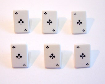 Ace Buttons Playing Cards Suit Choice Diamond Spade Clubs Hearts  Jesse James Buttons In the Money Set of 6 Shank Back - 155