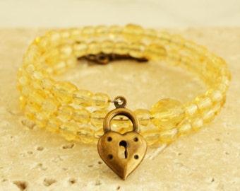 Cuff Bracelet, Yellow Jewelry, Charm Bracelet