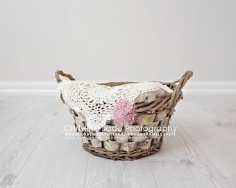 Newborn Birch Wood Basket Digital Backdrop