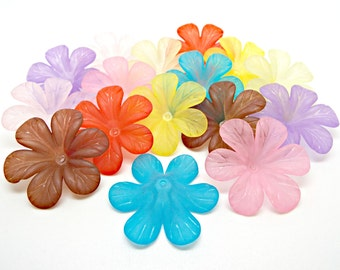 10 Large Flower Beads, Lucite Flowers, 33mm Lucite Beads, Frosted Flowers, Flower Jewelry, Acrylic Beads, Bead Caps, 7 Colors, UK Seller