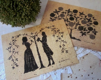 Pair of Silhouette Art Prints. Romantic Couple. Tree of Life. Saltbox House. Serenity Birds. Wedding Engagement gift