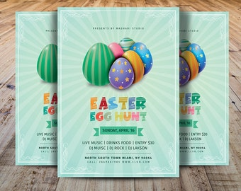 Easter Egg Hunt Flyer Template | Easter Party Flyer | Easter Invitation Template | Photoshop,Elements and MSWord Template | Instant Download