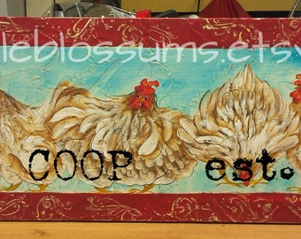 "11"" X 36"" #515 Chickens Hens Art on Rustic Wood Personalized"