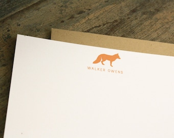 Personalized Fox Stationary - Baby Kids Thank You Notes Flat Stationery - Set of 20