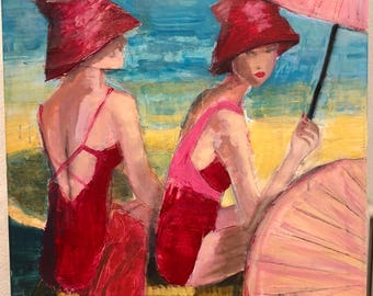 Models at a Beach (original painting)