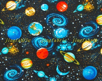 CZ006 - 108cmx100cm  Cotton Fabric - Exploration of the universe, planet, star, nebula