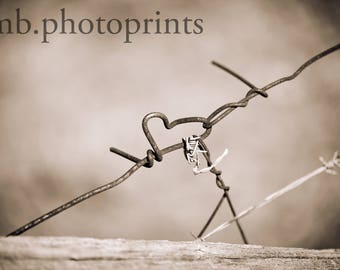 Heart Photography, Wall Art, Heart Wall Decor, Rustic, Old Wire, Black and White, Heart Print