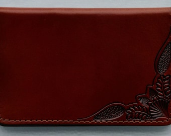 Business Card Case , corner tooled brown