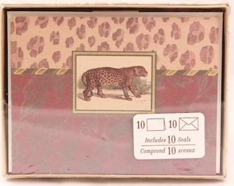 Hallmark Cheetah Box of Cards. 10 Notes, Envelopes and Seals. Sealed