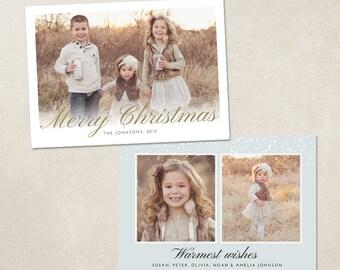 Christmas Card Template for photographers PSD Flat card Modern -  Snowy Gradient CC036