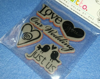 Just Us Cling Mounted Rubber Stamp Set, ditto by Studio G, four stamps new in package NIP, wedding stamps