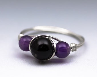 Black Schorl Tourmaline & Amethyst Sterling Silver Wire Wrapped Gemstone Bead Ring - Made to Order, Ships Fast!