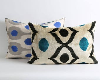 Velvet ikat pillow cover with silk ikat backing // Handwoven & hand-dyed pillows
