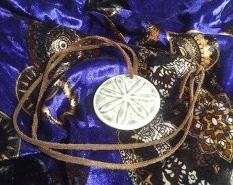Ceramic Sand Dollar pendant on Leather necklace